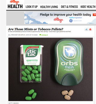 Tobacco mints, iVillage
