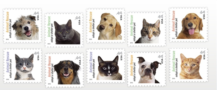 Adopt a shelter dog stamp