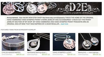 Down2earth handmade jewelry on Etsy.com
