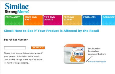 Similac Powder infant formula recall lookup