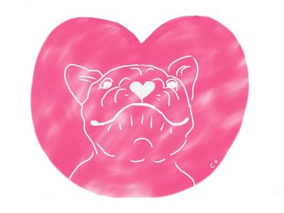 dog valentine doodle by Chris Olson