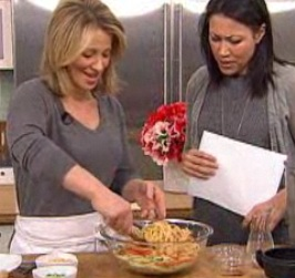 Allie Lewis Clapp, food director of Real Simple magazine cooks Gingery peanut noodles with chicken on the TODAY show