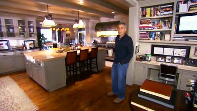 Clooney in his kitchen