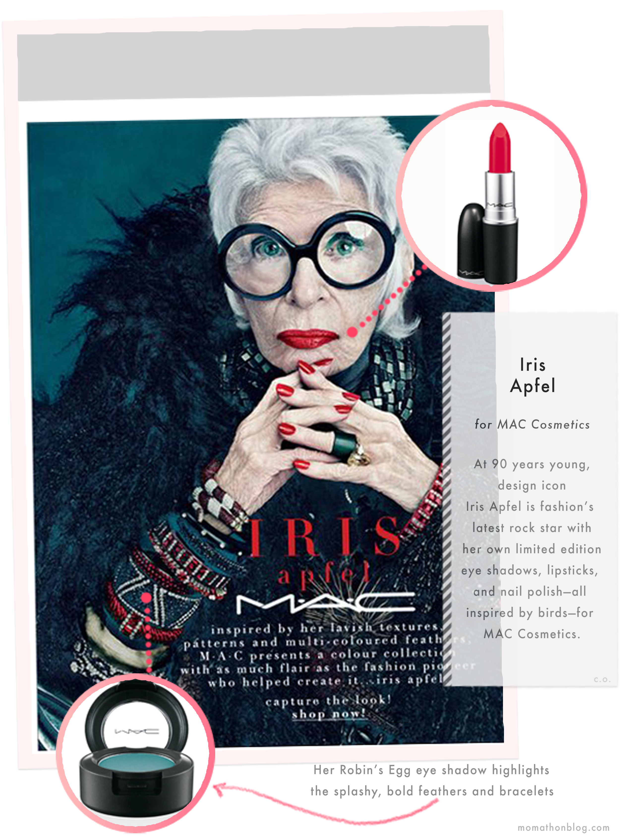 Iris Apfel for MAC Cosmetics, image by MomathonBlog.com
