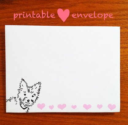 Yorkie and Hearts Envelope--printable