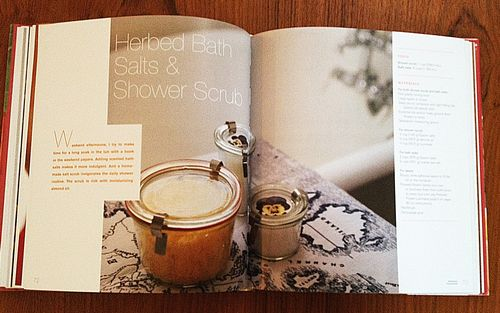 Herbed bath salts and shower scrub in the book Weekend Handmade by Kelly Wilkinson
