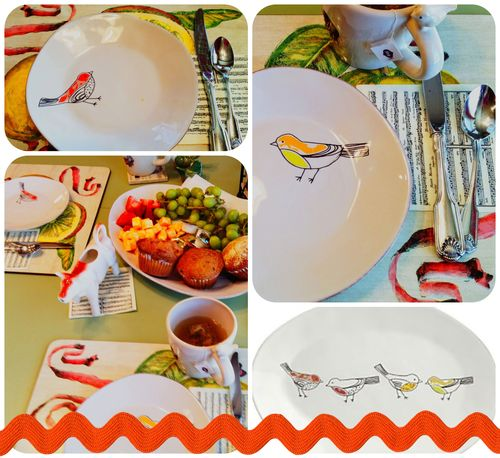 A tea party with Chickadee plates at Crate and Barrel
