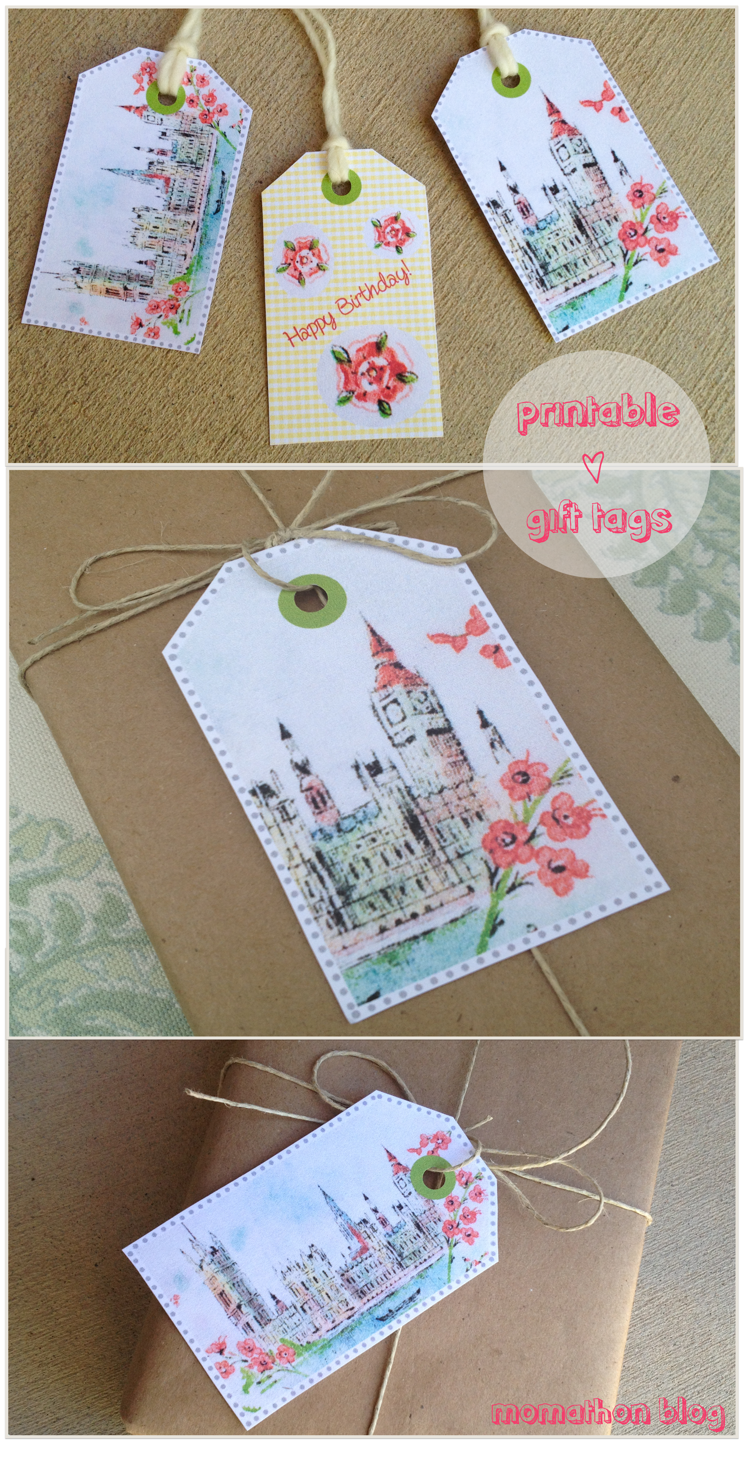 Momathon blog free printable gift tags vintage fabric the downloadable pdf see link below contains 1 page that includes 6 tags2 tags of each of the 3 designs shown above negle Image collections