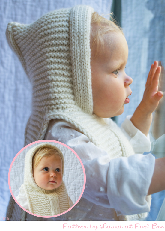 Knit a hoodie popover for baby, pattern Purl Bee