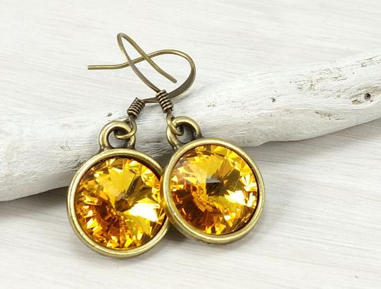 Antique_brass_and_sunflower_yellow_Swarovski_rivoli_crystal_earrings
