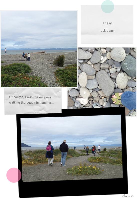 A walk along a rock beach