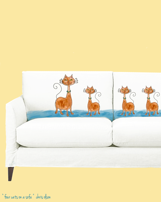 four cats on a sofa