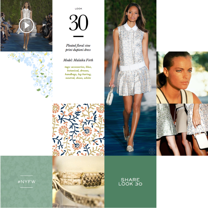 Pleated floral vine -tory burch look 30