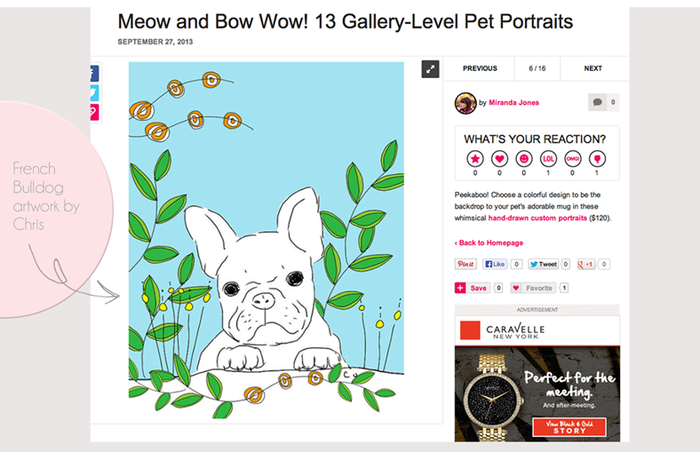 French Bulldog Illustration on PopSugar
