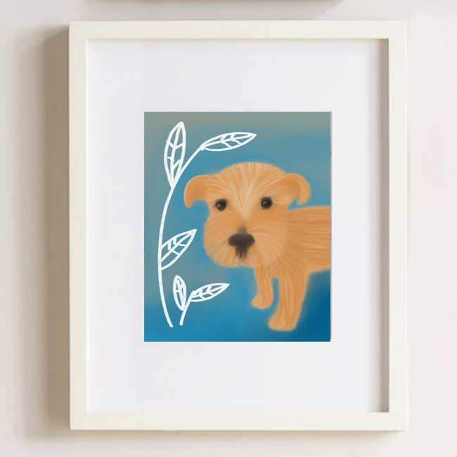 Racer the terrier--in picture frame