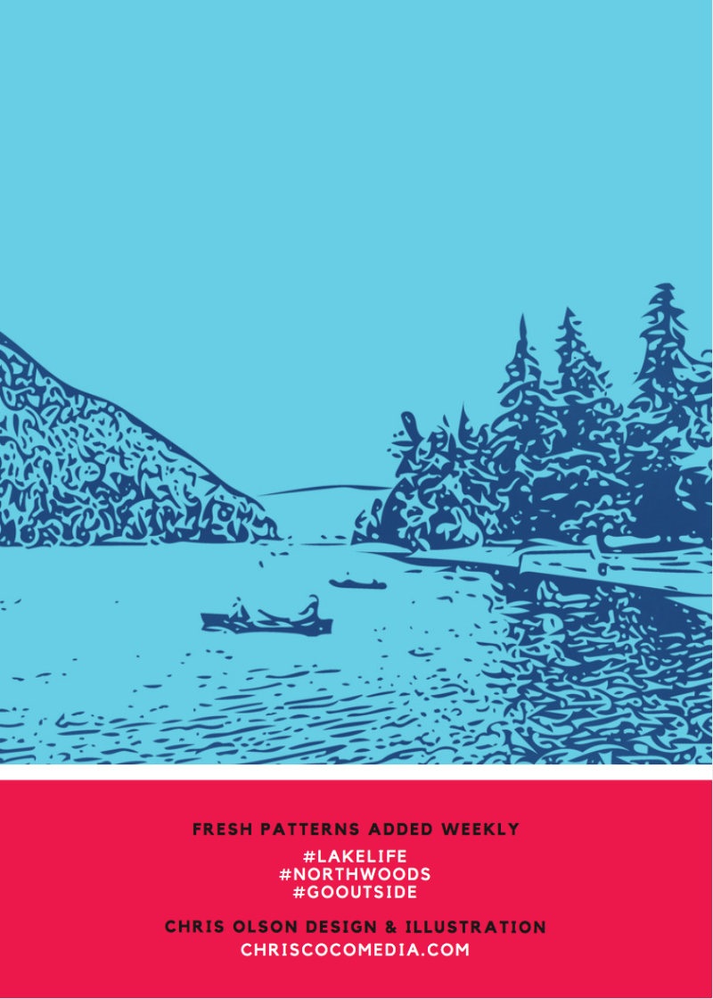 Canoe at the Lake in the Lake Life Textile Collection by Chris Olson